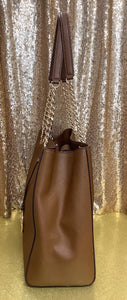 Michael Kors Susannah Large Saffiano Luggage Brown Leather Tote