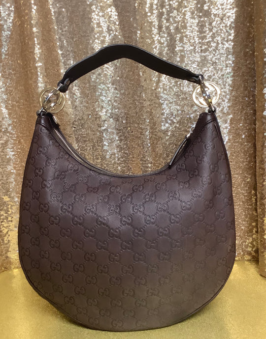 Brown Guccissima Leather GG Twins Medium Hobo Bag