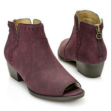 Load image into Gallery viewer, Jambu Harper Whipstitched Peep Toe Ankle Booties