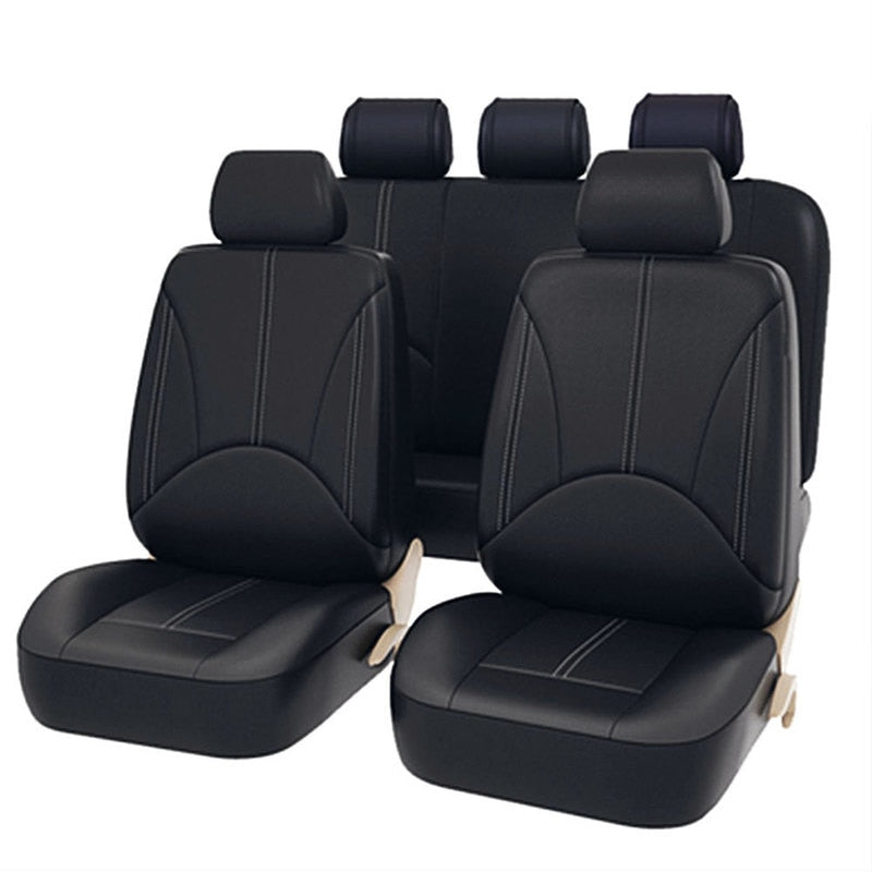 Black Leather Car Seat Covers Universal Fit (Waterproof Dust Proof)  New Car Gadgets
