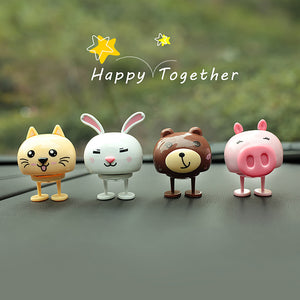Bear Rabbit Cat Pig Car Dashboard Toys
