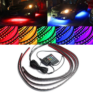 4 Strips Remote Controlled RGB Car Light Decoration Car Exterior Lighting New Car Gadgets