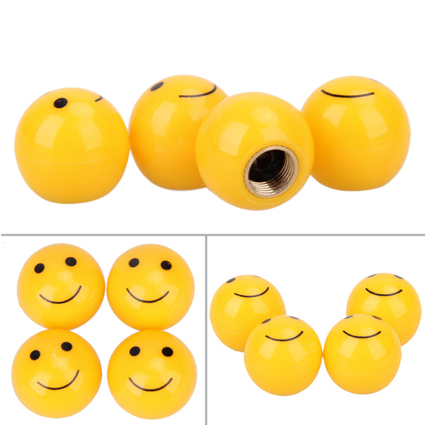 4Pcs Smiley Face Tire Air Valve Covers Car Wheels Valve Covers New Car Gadgets