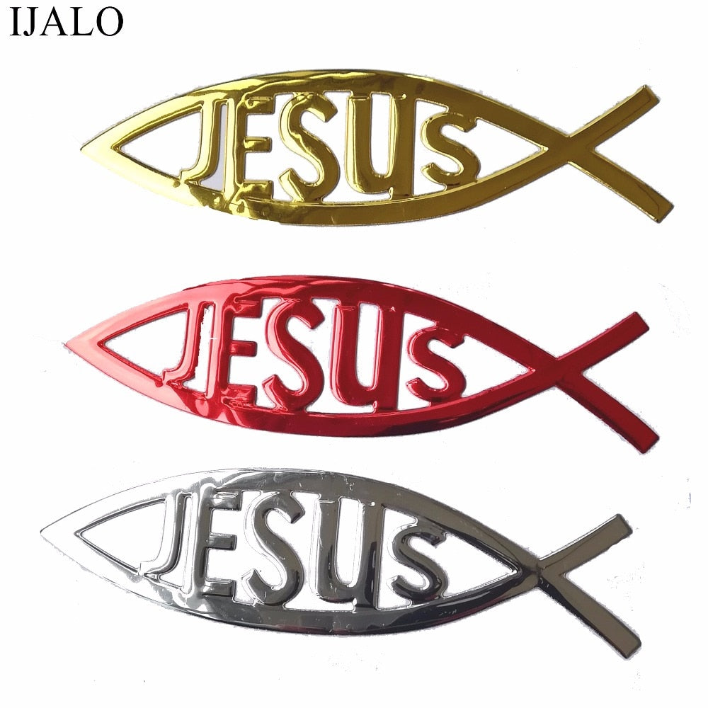 Jesus Fish Car Sticker Jesus Love Car Decal Chrome Emblem Car Stickers Decals New Car Gadgets