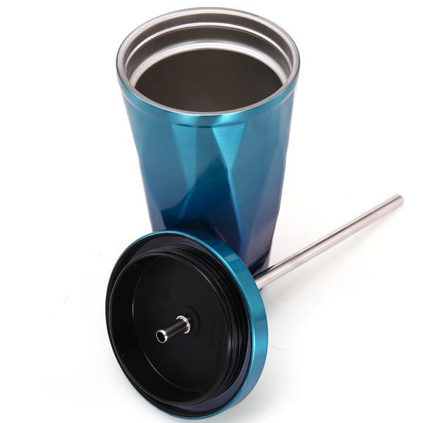 Textured New Coffee Mug with a Straw Stainless Steel for you Car or Office car coffee mugs New Car Gadgets
