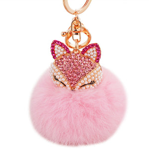 New Crystal Fox Fur Keychain Fox Bag Charm Girly Women Keychain Car Keychains New Car Gadgets