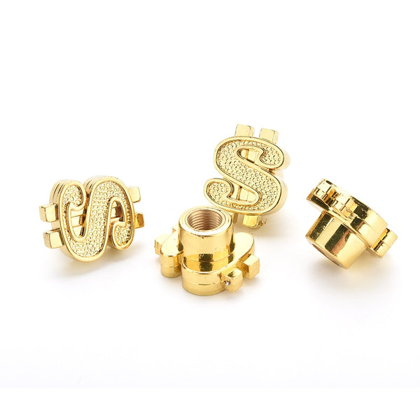 New Gold Dollar Sign Car Tire Valve Stems Car Wheels Valve Covers New Car Gadgets