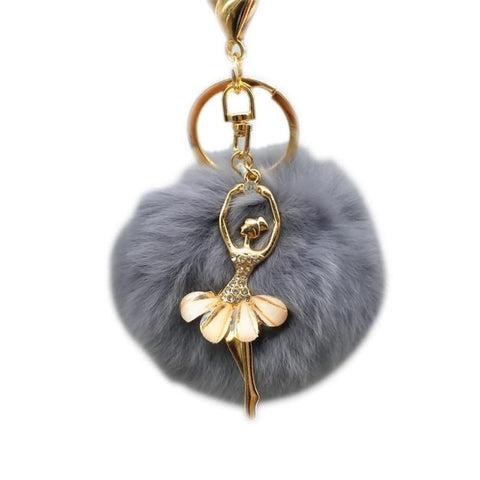 Woman Dancer Keychain Warm Fur Keychain Car Keychains New Car Gadgets