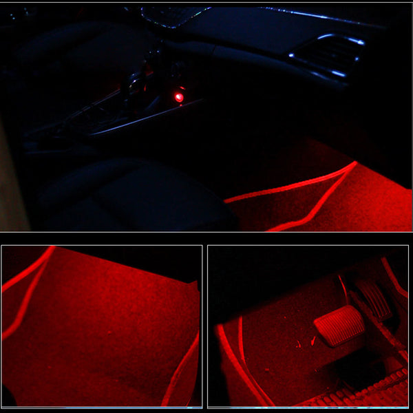 4pcs Car RGB Car Interior Lighting Atmosphere LED Strip ( with Remote ) Car Interior Lighting New Car Gadgets