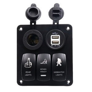 Car Switch Panel LED USB Ports Funny Unique Buttons Car Circuit Breakers Car Button Switches New Car Gadgets