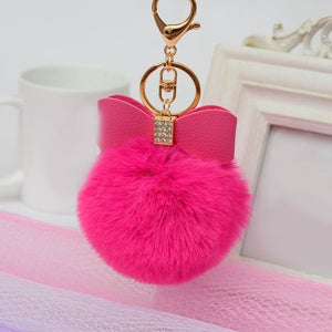 Rabbit Fur Pom pom Keychain Bag Charm Car Keychains New Car Gadgets