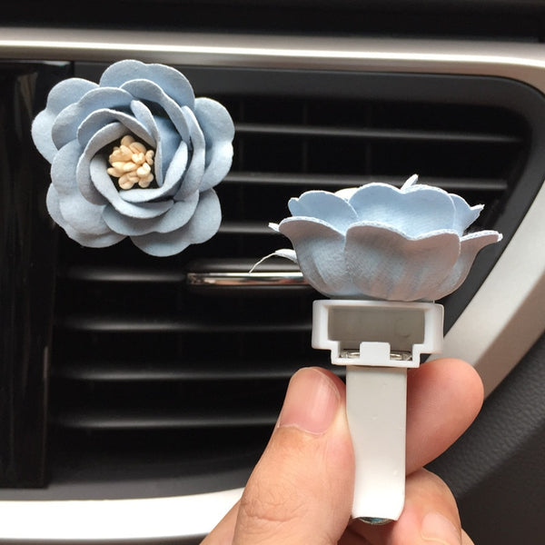 Romantic Camellia Air Freshener Flower Refillable Tablets Car Air Fresheners New Car Gadgets