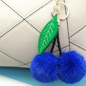 Cherry Key Chain Fur Ball Keychain Car Keychains New Car Gadgets