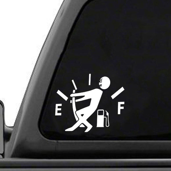 High Gas Consumption Decal Fuel Gage Empty Funny Car Vinyl Sticker Window Car Stickers Decals New Car Gadgets