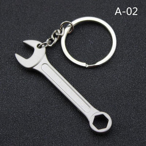 Wrench Keychain Car Key Chain Silver Metal Wrench Car Keychains New Car Gadgets