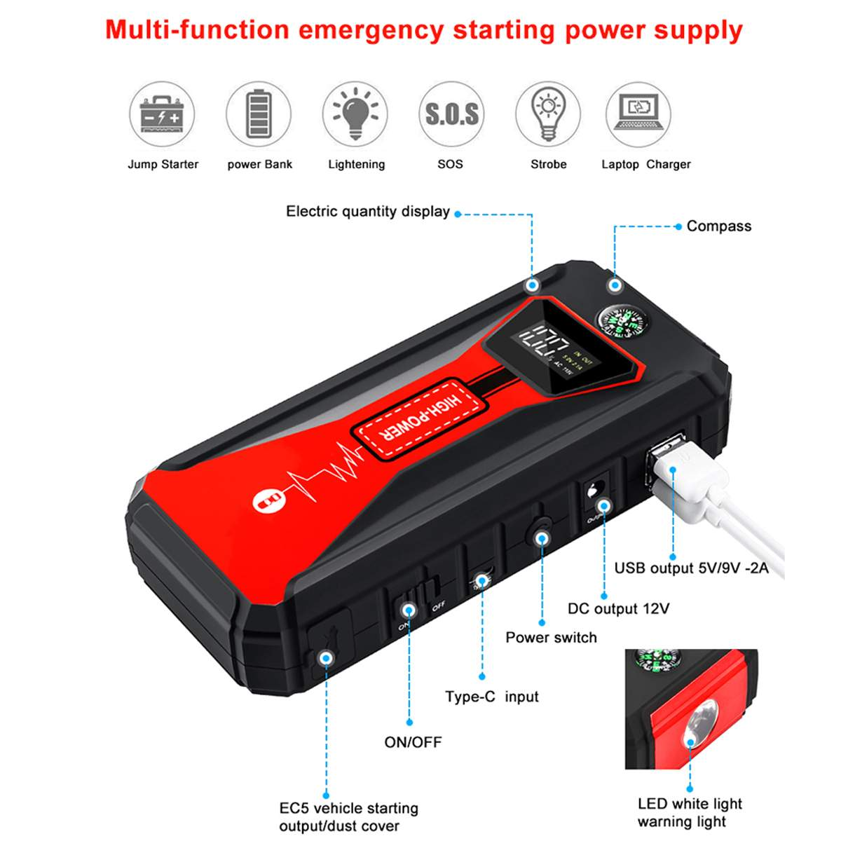 Emergency Car Battery Jump Start Power Bank Car Safety Gadgets New Car Gadgets