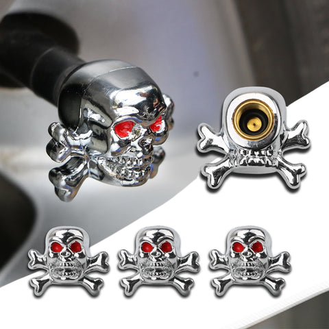 4 Pcs Skull Tire Air Valve Stem Caps Covers Car Wheels Valve Covers New Car Gadgets