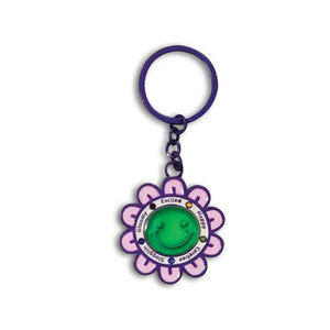 Smiley Car Key Chain Purple Flower (Metal) Car Keychains New Car Gadgets