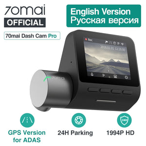 Smart Car Dash Cam Pro with GPS and ADAS 70mai car dvr cameras dash cams New Car Gadgets