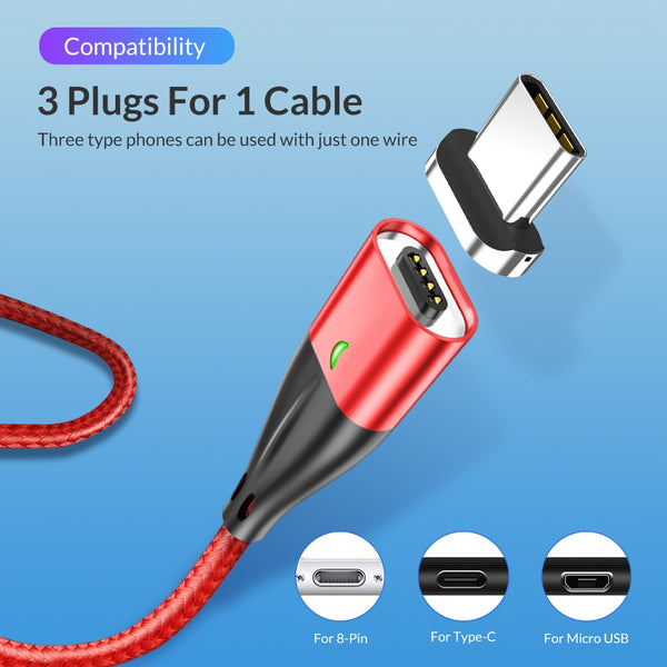 3A Fast Charger Magnetic USB Charging Cable QC 3.0 for iPhone and Android Devices Car Phone Chargers New Car Gadgets