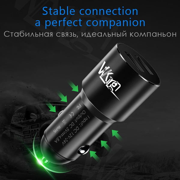 Super Fast Charger 4.8A Aluminum Alloy 2 USB Ports Intelligent Charging Car Phone Chargers New Car Gadgets