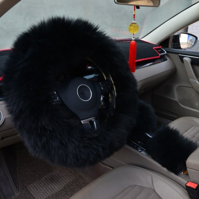 Different Colors Fur Warm Steering Wheel Cover (3 Pcs Steering, Gear, Break) Car Steering Wheel Covers New Car Gadgets