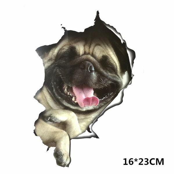 Funny 3D Pug Dogs Car Sticker Decal Car Stickers Decals New Car Gadgets
