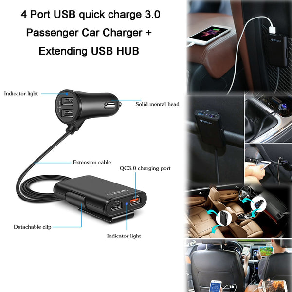 4 Port Quick Charger 3.0 Car Phone Charger ( Perfect for front and rear passengers - phone and car DVR Cameras ) Car Phone Chargers New Car Gadgets