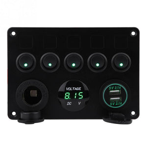 Car Switches Panel with 5 on off dual usb ports - voltage lcd car switches panel New Car Gadgets