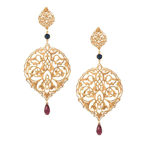 Persian Jaal Gold Drop Earrings - Confluence by Swarovski