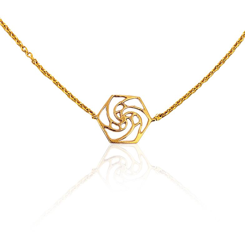 Rose Fractal  Necklace in 18k Gold