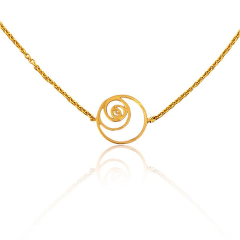 Fibonacci Spiral Necklace in 18k Gold