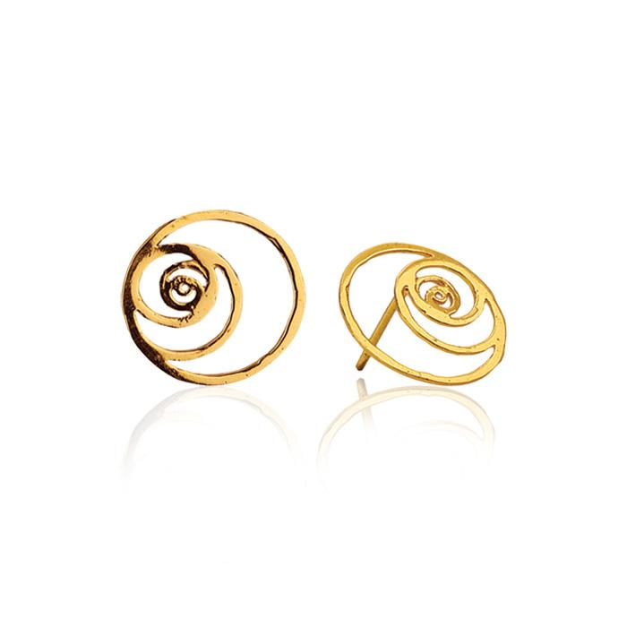 Fibonacci Spiral Earrings in 18k Gold