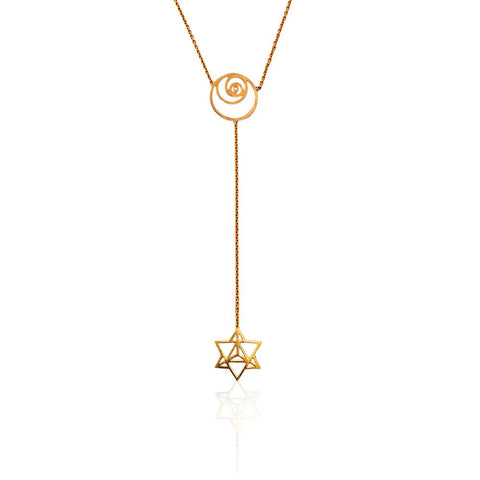Sacred Geometry Lariat in 18k Gold