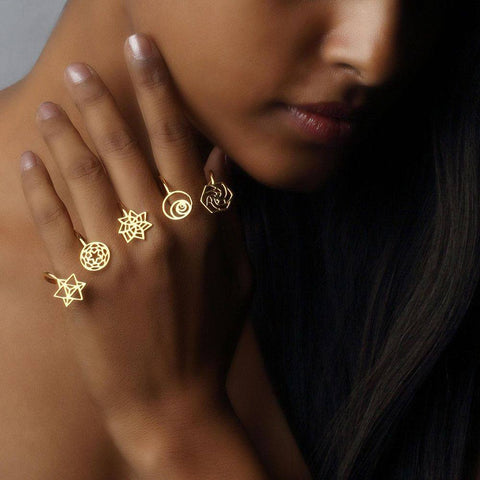 Sacred Geometry 4 Finger Ring