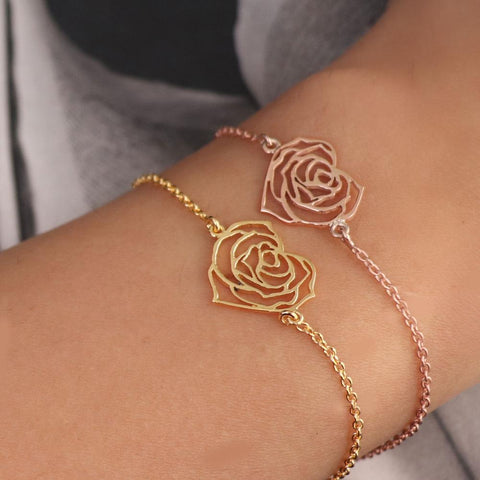My Heart Rose Bracelet - 18K Gold or 18K Rose Gold
