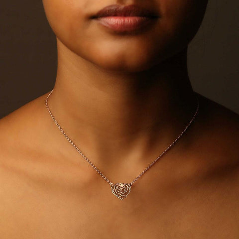 My Heart Rose Necklace - 18K Gold or 18K Rose Gold