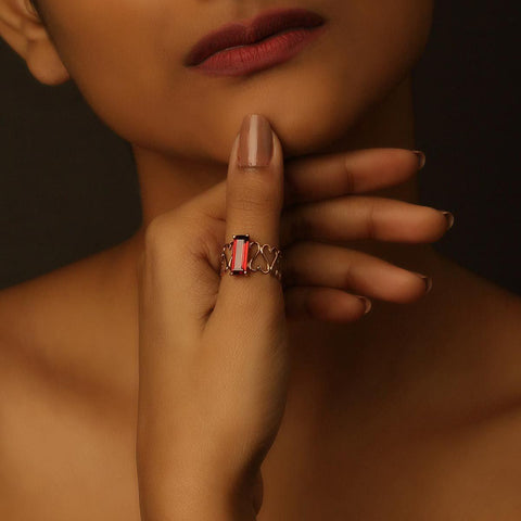 Unconditional Love & Abundance Ring - Garnet in 18K Rose Gold