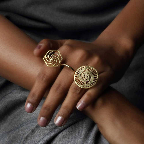 Sacred Geometry 3 Finger Ring