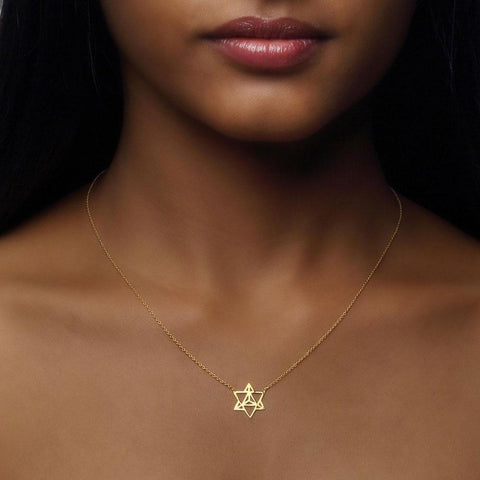 Star Tetrahedron Necklace in 18k Gold