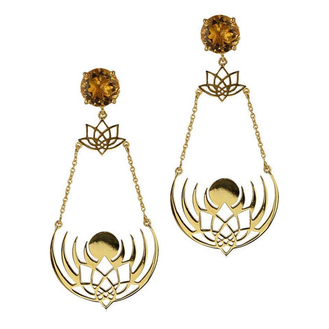 Crown of Selene Earrings - Citrine