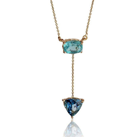 Courage & Truth Necklace - Apatite & London Blue Topaz in 18K Rose Gold