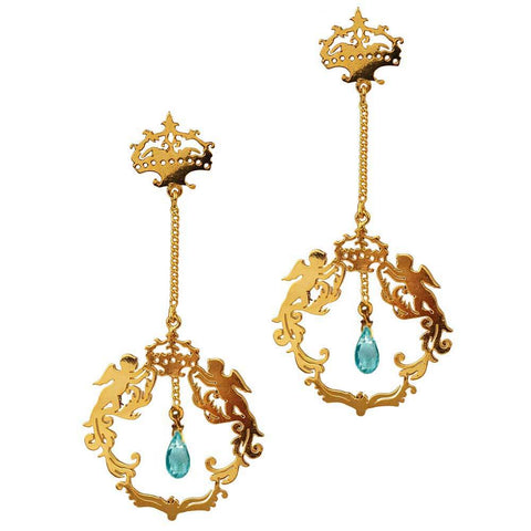 Army of Angels Earrings with Crown Stud