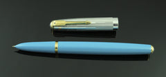 Parker, Special Edition 51 Fountain Pen, Vista Blue w/Silver Plated Cap & Goldfill Trim