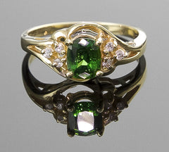 Ring, Garnet (Tsavorite) & Diamond