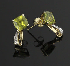 Earrings, Peridot & Diamond