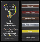Private Reserve Ink - Assorted Brown & Black Ink Cartridges 12 Pack