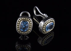 Earrings, Sterling Silver, 14 Karat Gold & Topaz