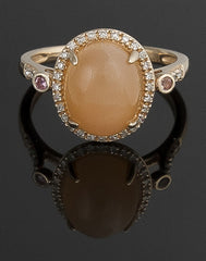 Ring, Moonstone, Diamond & Tourmaline