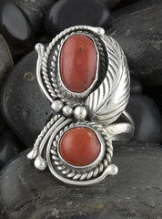 Jewelry, Ring, Sterling Silver & Coral (Native American)
